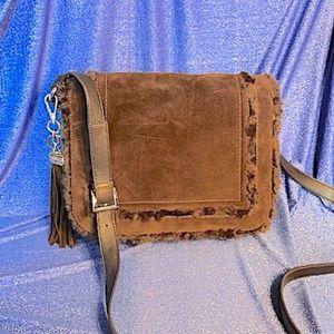 TIGNANELLO BROWN SUEDE & LEATHER SHOULDER BAG